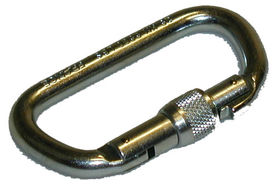 Snaphook with screw lock for fire safety line.